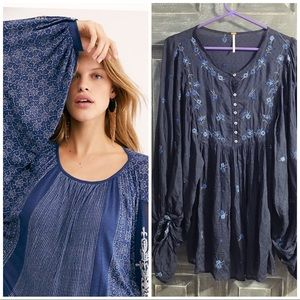 Free people blue embroidered tunic sz xs